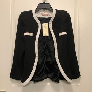 Black White Lined Blazer Small